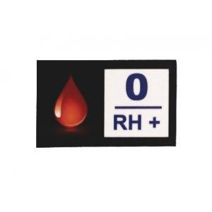 Nálepka s krvnou skupinou 0 RH+