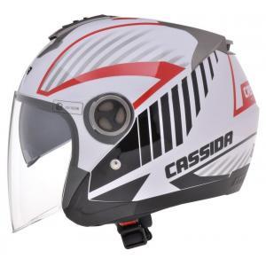 Prilba na motocykel Cassida Magnum - čierno-bielo-červená