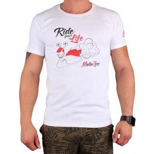 Tričko s motívom Motozem Ride your life biele