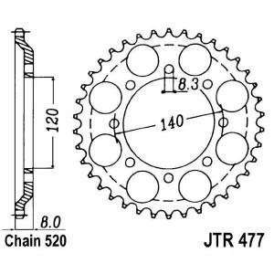 Reťazová rozeta JT JTR 477-43 43 zubov,520