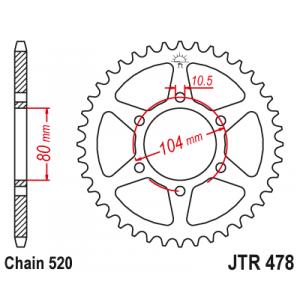 Reťazová rozeta JT JTR 478-45 45 zubov,520
