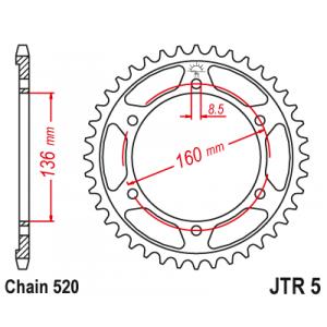 Reťazová rozeta JT JTR 5-47 47 zubov,520