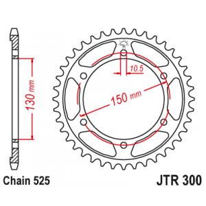 Reťazová rozeta JT JTR 300-47 47 zubov,525