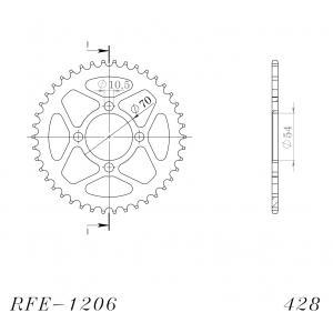 Reťazová rozeta SUPERSPROX RFE-1206:42-BLK čierna 42 zubov,428
