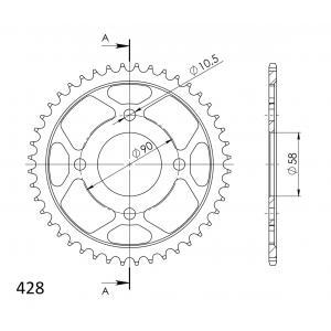 Reťazová rozeta SUPERSPROX RFE-1221:44-BLK čierna 44 zubov,428
