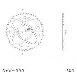 Reťazová rozeta SUPERSPROX RFE-838:45-BLK čierna 45 zubov,428