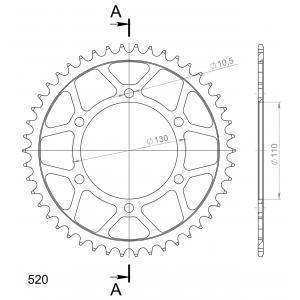 Reťazová rozeta SUPERSPROX RFE-486:46-BLK čierna 46 zubov,520