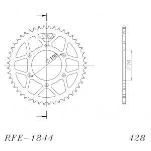 Reťazová rozeta SUPERSPROX RFE-1844:48-BLK čierna 48 zubov,428