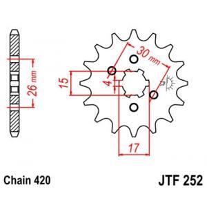 Reťazové koliečko JT JTF 252-12 12 zubov,420