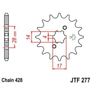 Reťazové koliečko JT JTF 277-13 13 zubov,428