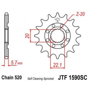 Reťazové koliečko JT JTF 1590-13SC 13 zubov,520 Self Cleaning Lightweight