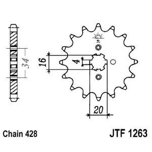 Reťazové koliečko JT JTF 1263-14 14 zubov,428