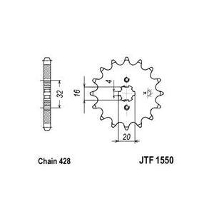 Reťazové koliečko JT JTF 1550-14 14 zubov,428