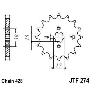 Reťazové koliečko JT JTF 274-15 15 zubov,428
