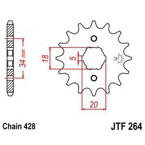 Reťazové koliečko JT JTF 264-15 15 zubov,428