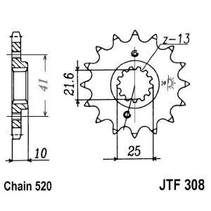 Reťazové koliečko JT JTF 308-15RB 15 zubov,520 pogumované