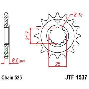 Reťazové koliečko JT JTF 1537-15RB 15 zubov,525 pogumované
