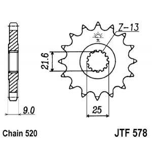 Reťazové koliečko JT JTF 578-16 16 zubov,520