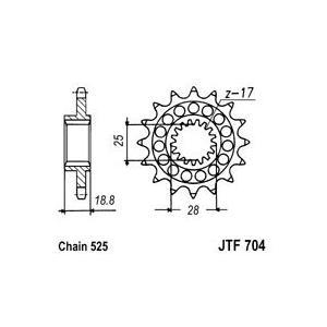 Reťazové koliečko JT JTF 704-16RB 16 zubov,525 pogumované