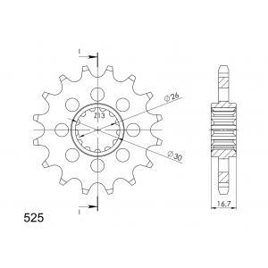Reťazové koliečko SUPERSPROX CST-1370:16 16 zubov,525
