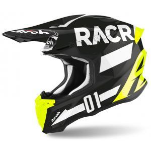 Motokrosová prilba Airoh Twist Racr čierno-bielo-fluorescenčno žltá