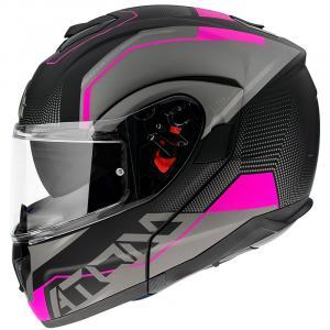 Odklápacia prilba na motocykel MT Atom SV Quark čierno-šedo-ružová