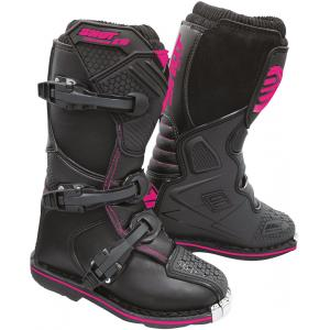 Detské vysoké čižmy na motocykel Shot K10 2.0 čierno-ružové