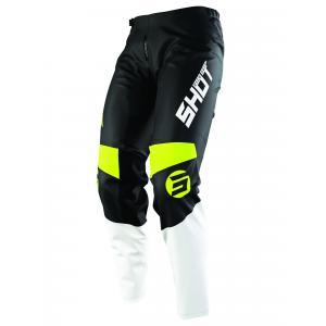 Detské motokrosové nohavice Shot Devo Storm čierno-bielo-fluorescenčno žlté