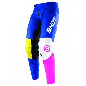 Detské motokrosové nohavice Shot Devo Storm modro-žlto-bielo-ružové
