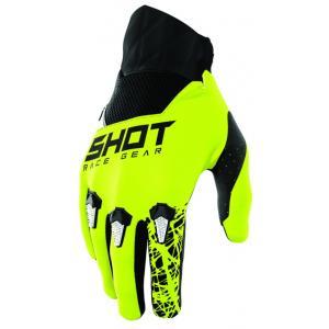 Detské motokrosové rukavice Shot Devo Storm čierno-bielo-fluo žlté