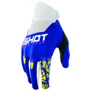 Detské motokrosové rukavice Shot Devo Storm modro-žlto-bielo-ružové