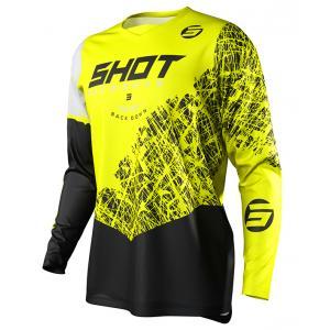 Detský motokrosový dres Shot Devo Storm čierno-bielo-fluorescenčno žltý