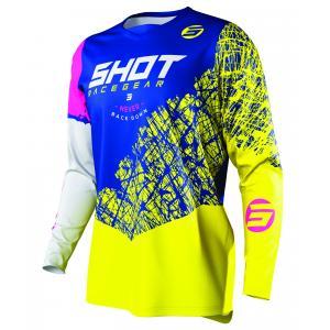 Detský motokrosový dres Shot Devo Storm modro-žlto-bielo-ružový