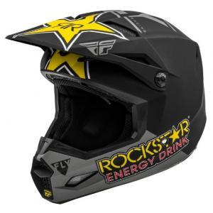 Motokrosová prilba FLY Racing Kinetic Rockstar šedo-čierno-žltá