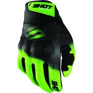 Motocrossové rukavice Shot Drift Smoke čierno-fluorescenčno zelené