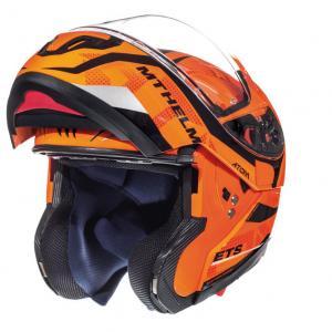 Odklápacia prilba na motocykel MT Atom Divergencia fluorescenčno-oranžová výpredaj