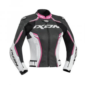Dámska bunda na motocykel IXON Vortex čierno-bielo-ružová