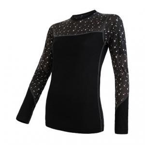 Dámske termo tričko Sensor Merino Impress čierno-sivé - dlhý rukáv