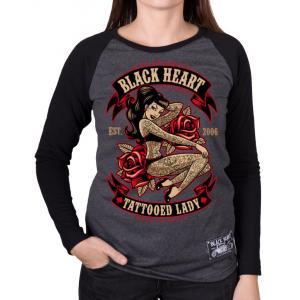 Dámske triko Black Heart Tattooed Lady čierno-šedé