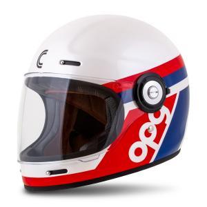 Integrálna prilba na motorku Cassida Fibre OPG, bielo-modro-červená