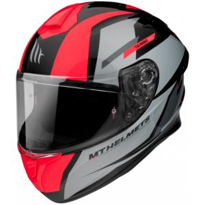 Integrálna prilba na motocykel MT FF106 Pre Targo Pro Sound čierno-sivo-fluorescenčno červená
