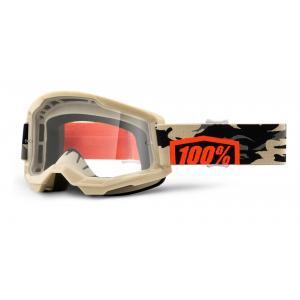 Motokrosové okuliare 100% STRATA 2 béžové (číre plexi)