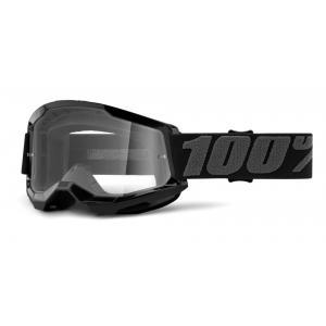 Motokrosové okuliare 100% STRATA 2 čierné (číre plexi)
