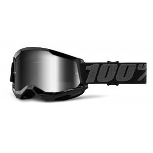 Motokrosové okuliare 100% STRATA 2 čierne (strieborné zrkadlové plexi)