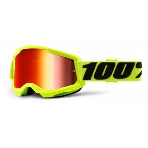 Motokrosové okuliare 100% STRATA 2 fluo žlté (červené zrkadlové plexi)