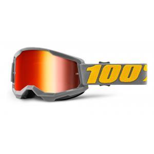 Motokrosové okuliare 100% STRATA 2 sivé (červené zrkadlové plexi)
