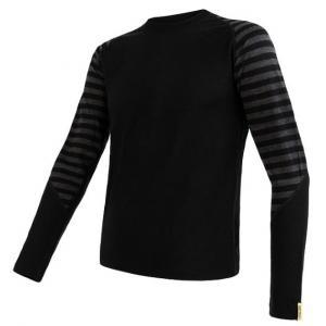 Pánske funkčné tričko Sensor Merino Active čierno-sivé - dlhý rukáv