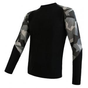 Pánske termo tričko Sensor Merino Impress čierno-maskáčové - dlhý rukáv