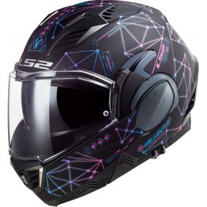 Preklápacia prilba na motocykel LS2 FF900 Valiant II Stellar čierno-modro-ružová