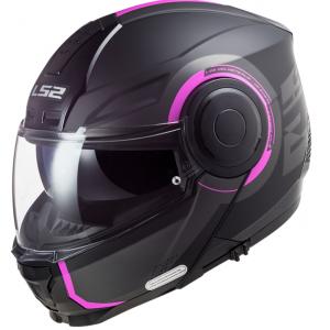 Odklápacia prilba na motocykel LS2 FF902 Scope Arch čierno-ružová matná